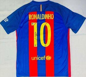 Barcelona Ronaldinho Signed Soccer Jersey BAS Beckett