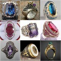 Retro Turkish Handmade Prinecss Sapphire 925 Silver Men's Ring Jewelry NEW #6-10