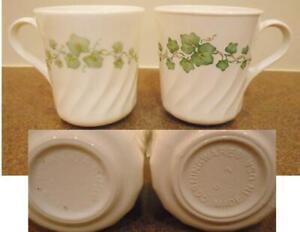 Corelle Corning 9-oz CALLAWAY CUP Swirled Mug *LIGHT Green IVY Pattern Vitrelle