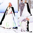 10 colour Winter Long Faux Fur Trim Wedding Cloaks Bridal Kids Flower Girls Cape