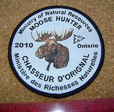 2010 ONTARIO MNR MOOSE HUNTING PATCH badge,flash,crest,deer,bear,elk,Canadian