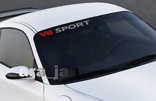 V8 SPORT windshield Vinyl Decal sticker racing speed car emblem logo SILVER/RED