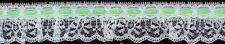 "1&1/2"" WHITE RUFFLED LACE FABRIC TRIM MINT GREEN SATIN BEADING 25 YARDS"