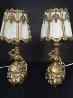 BEAUTIFUL Set Vintage Victorian Antique Shabby Chic Boudoir Table Lamp Lights