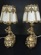 Beautiful Pair Of Vintage Victorian Lady Shabby Chic Boudoir Table Lamps Lights