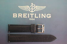 QUALITY 20MM BLACK LIZARD PRNT WATCH BAND WATCHBAND BRACELET STRAP FIT BREITLING