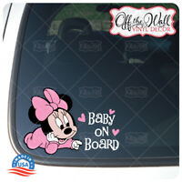 "Baby Minnie ""BABY ON BOARD"" Sign Vinyl Sticker for Cars/Trucks BOB2DCV"