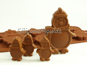 6+1 Penguin Silicone Mould Christmas Chocolate Candy Baking Resin Wax Melt Craft