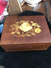 Original Deichert Music Musical Jewelry Box W Germany Inlaid Wood Floral-CHOPIN