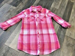 Justice Girls Pink & Silver Glitter Flannel Tunic Top Size 12 EUC