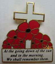 at the going down of the sun poppy enamel lapel badge military british army