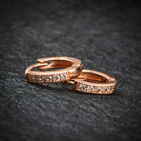 2Pcs Fashion Women Rose Gold Crystal Ear Hoop Stud Huggie Earrings Jewelry Gift