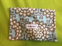 The DIAPER CLUTCH, blue flowers, Holds Diapers & Baby Wipe Case, Lightweight NEW
