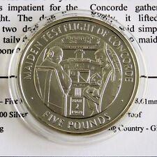 Vuelo de prueba de soltera de Concorde 2006 Gibraltar Plata Prueba £ 5 Corona-cert. de autenticidad