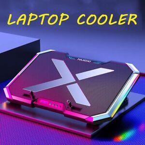 Laptop Cooling Pad Cooler 6 Fans Gaming Stand RGB Adjustable LED Screen USB Port