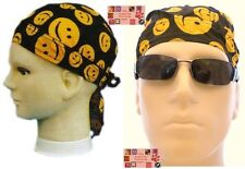 Happy Smiley SMILE FACE FITTED Bandana w/TIES Head Wear Skull Cap DOO DO Rag