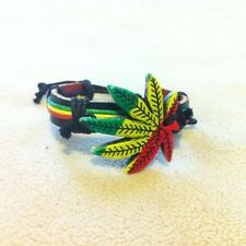 BLACK LEATHER - RASTA RED GREEN YELLOW WEED LEAF BRACELET