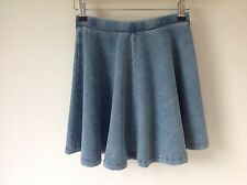 TOPSHOP SIZE 6 PETITE BLUE STRETCH DENIM SKATER SKIRT BOHO HIPPY HOLIDAY CASUAL