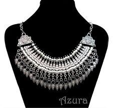 Tibetan Silver Metal Ethnic Boho Statement Necklace Collar Choker Black Blue Red