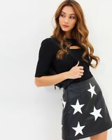 Missguided Black White Faux Leather Star Retro 80s Style High Waist Mini Skirt 6