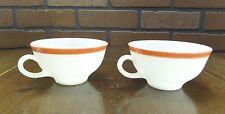 Pair of Vintage Pyrex Milk Glass Tea Cup Coffee Mug w/Red Stripe