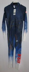 NWT Mens Adidas Speedskating Speedsuit Skinsuit Spandex Small S USA Blue Red