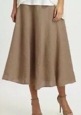 XL Eileen Fisher Driftwood Handkerchief Linen Flared A Line Skirt wTies New