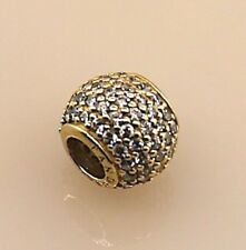Authentic Pandora ALE Pave Light Bead Charm in 14k Yellow Gold