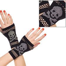 Black Goth Skull Crossbone Stud Crochet Wrist Warmer Fingerless Gloves Costume