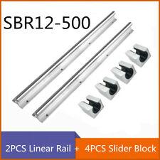 2pcs Sbr12 500 Fully Supported Shaft Rod Linear Rail 4pcs Slider Block Cnc