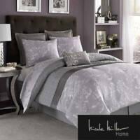 New Nicole Miller Blue White Floral Reversible Comforter Set 6pcs Queen