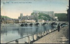 OAS BELGIUM POSTCARD THE RIVER AND QUAY AT HUY 1918 - HOLMFIRTH ARMY PO