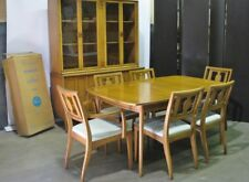 "Circa 1962 Drexel ""Meridan"" Dining Set; Table, 2 Leaves, 6 Chairs & Cabinet; MCM"