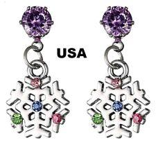 US Seller Betsey Johnson Crystal Snowflake  Earrings