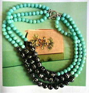 Dallas Prince-Amazonite-Mother of Pearl-Sterling-Vintage Style-Toggle Necklace