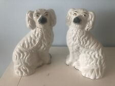ANTIQUE PAIR STAFFORDSHIRE POTTERY WALLY DOGS. FIRESIDE SPANIELS. UNUSUAL...