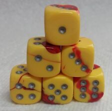 DICE 12mm CHX GEMINI #5 -RED/YELLOW w/SILVER- *6* CRAZY, COOL COLORS! SMALL SIZE