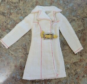 Vintage 1972 Barbie Doll White & With It #3352 Coat w/ Red Stitching, Gold Belt