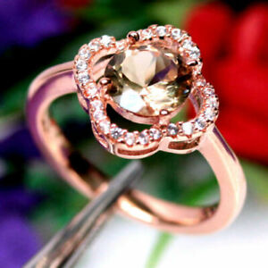3Ct Round Cut Morganite Solitaire Women's Engagement Ring 14k Rose Gold Finish