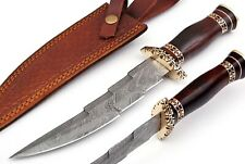 Custom Handmade Damascus Steel Hunting UNIQUE Bowie Knife With Rose wood Handle