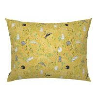Rabbit Bunny Spring Easter Wildflower Flowers Yellow Pillow Sham by Roostery