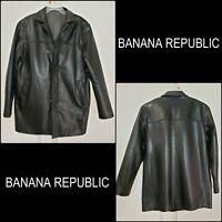 Banana Republic Men's Button Front Leather Jacket Black Size Medium M