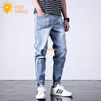 New Men's Spring Strip Loose Denim Pants Harem Stretch Taper Fit Jeans Plus Size