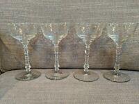 Vintage Libbey Rock Sharpe Cut Crystal Normandy (?) Champagne Glasses Set Of 4