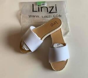 LINZI White Open Toe Flat Slip On Flip Flops Slider Sandals Shoes