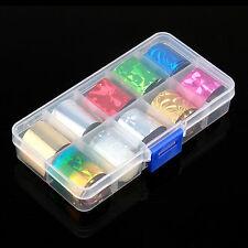 A Box 10 Random Colors Nail Art Transfer Foil Sticker for Nail Tips Decoration