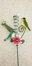 "Beautiful Bird Rain Gauge Garden Stake Jeweled Flower Colorful Finches 14 1/4"" H"