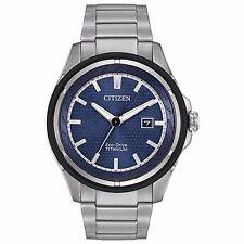 Citizen Eco-Drive Men's AW1450-89L Super Titanium Blue Dial Bracelet 46mm Watch