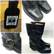 Frye Harness Biker Western RARE Crackle Black 77305 Boots USA MADE Women's 6.5 M