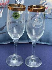 Claddagh Irish Handcut Glassware Goblets Set of 2